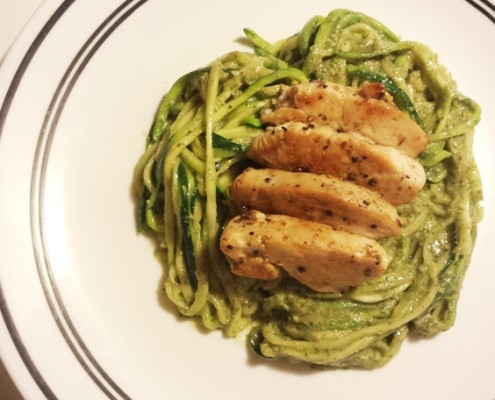 Creamy-Avocado-Pesto-Pasta-with-Zucchini-Noodles-and-Grilled-Chicken